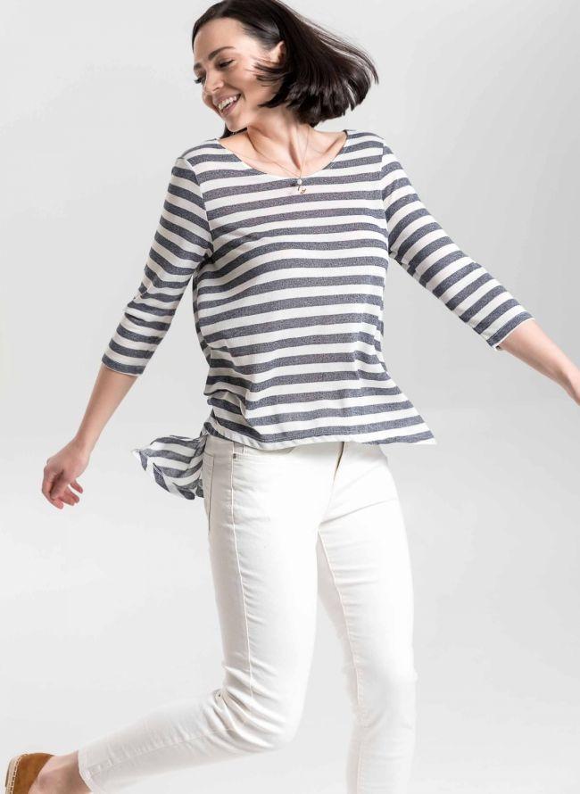 Ελαφριά πλεκτή μπλούζα με ρίγες - Ανθρακί