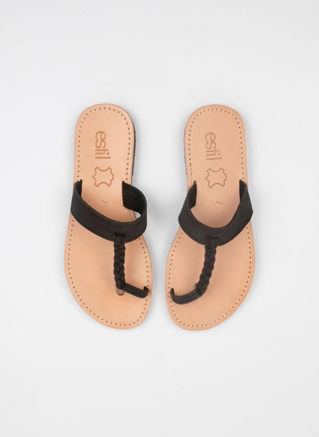 63c1af2f999 Flat suede σανδάλια με comfort πάτο - Μαύρο - TheFashionProject