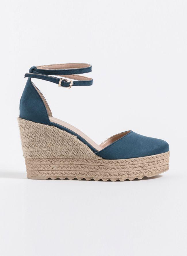 Estil espadrilles πλατφόρμες - Μπλε jean
