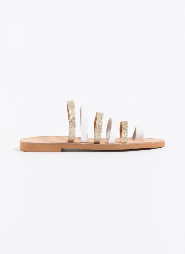 Estil flat δερμάτινα σανδάλια με glitter - Λευκό