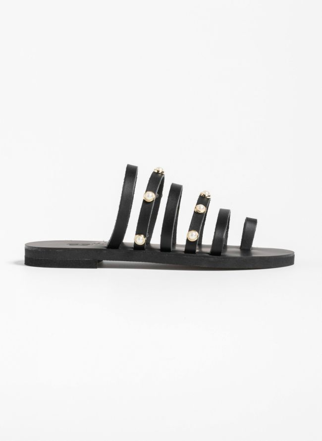 Estil flat δερμάτινα σανδάλια με πέρλες - Μαύρο