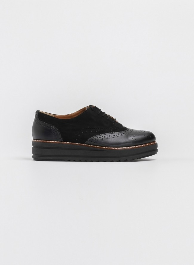 Estil oxfords με διπλή σόλα - Μαύρο - TheFashionProject 468be5feab2