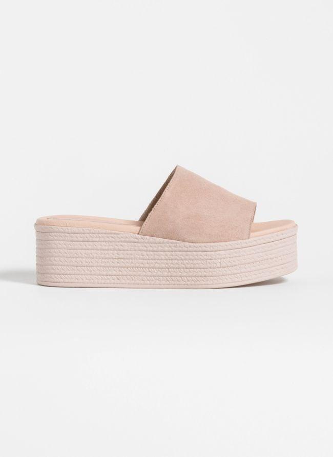 Estil flatform παντόφλες με φαρδιά φάσα - Nude