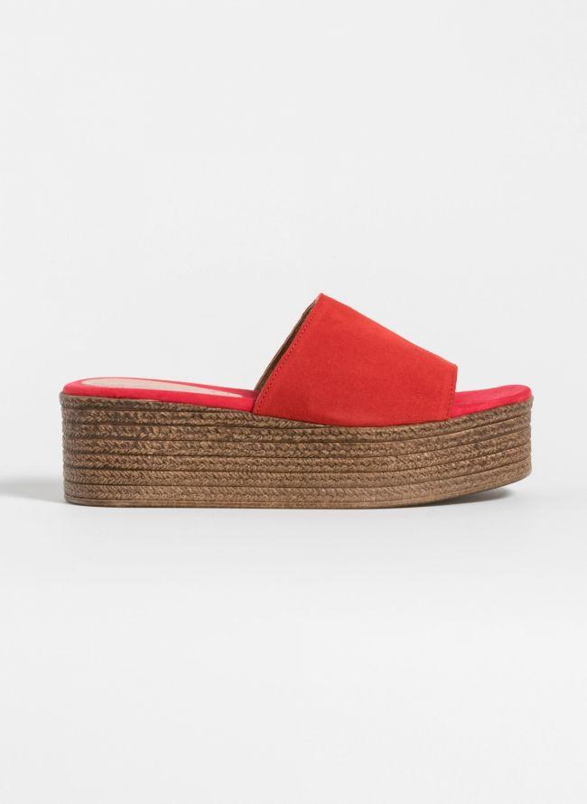 Estil flatform παντόφλες με φαρδιά φάσα - Κόκκινο