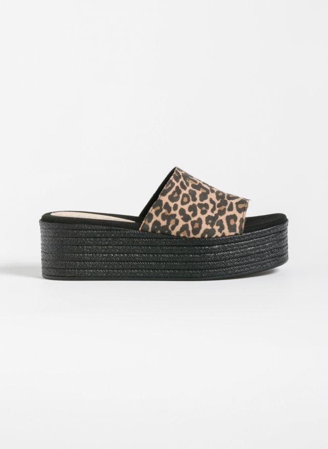 Estil flatform παντόφλες με φαρδιά φάσα - Leopard