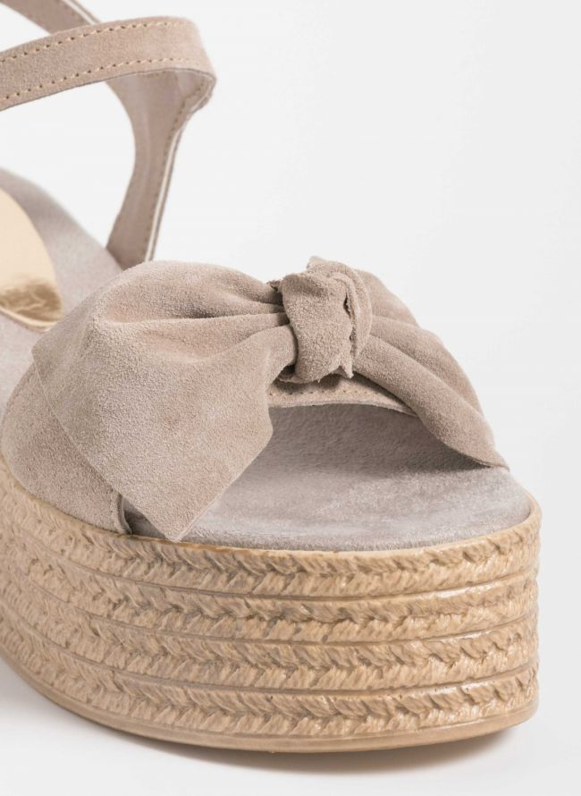 Estil flatforms από δέρμα καστόρι με ιδιαίτερο φιόγκο - Μπεζ