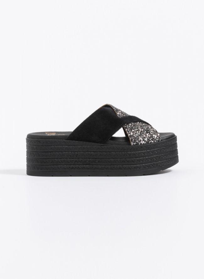 Estil flatforms χιαστί με glitter - Μαύρο