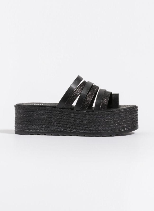 Estil flatforms με glitter λουράκια - Μαύρο