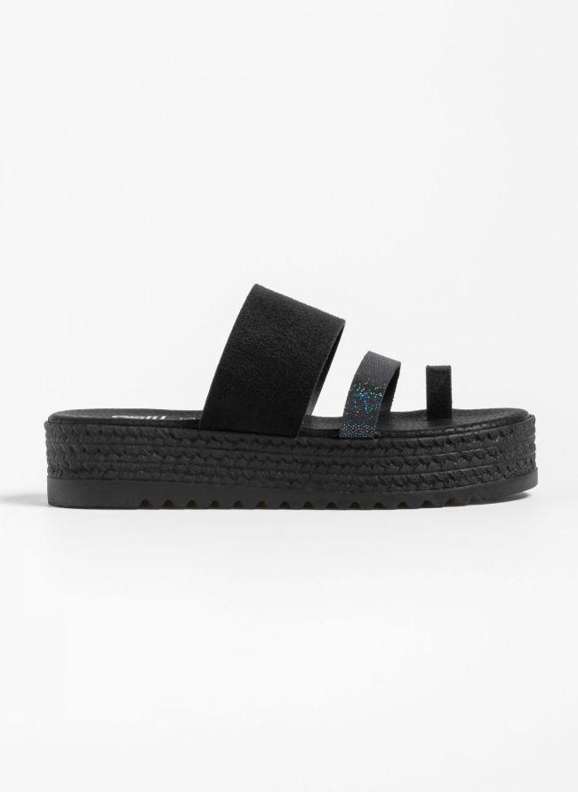 Estil suede flatforms με ιριδίζον λουράκι - Μαύρο