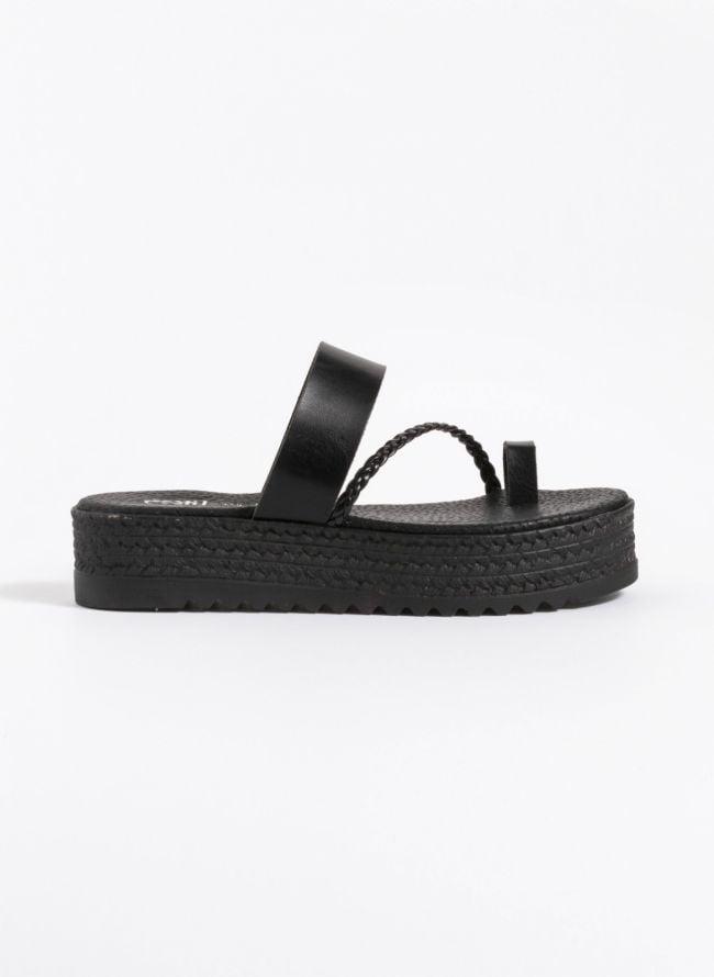 Estil flatforms με πλεξουδάκι - Μαύρο