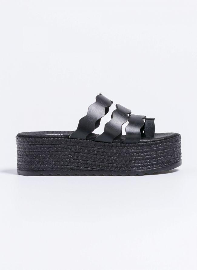Estil flatforms με wavy φάσες - Μαύρο