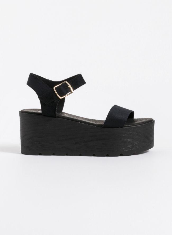 Estil καλοκαιρινά flatform πέδιλα - Μαύρο