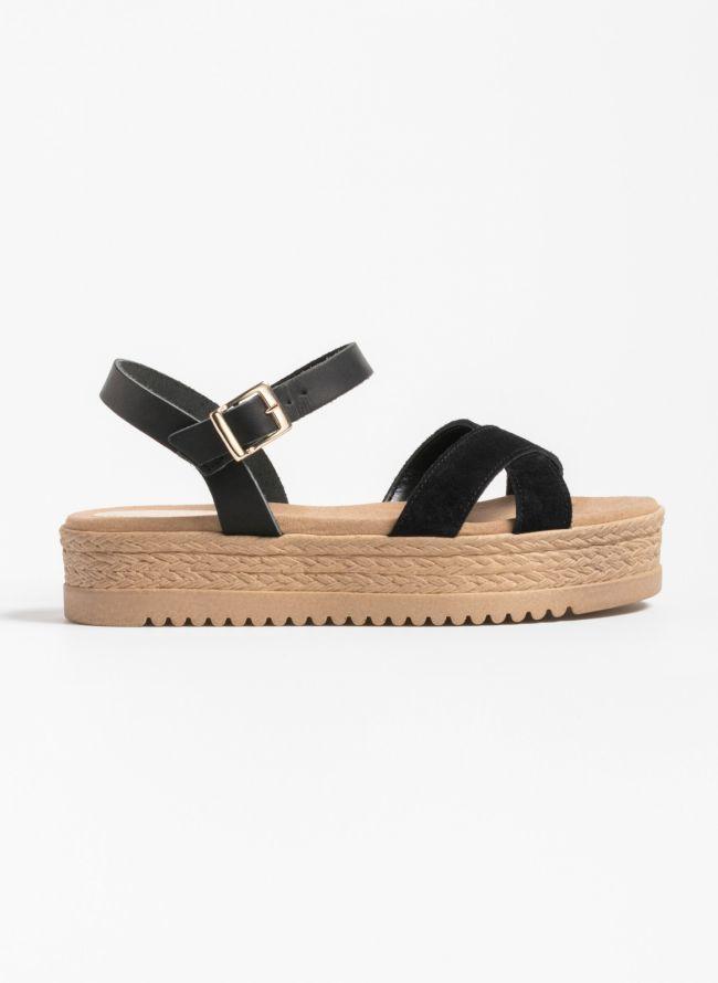 Estil καστόρινα flatforms με χιαστί φάσες - Μαύρο
