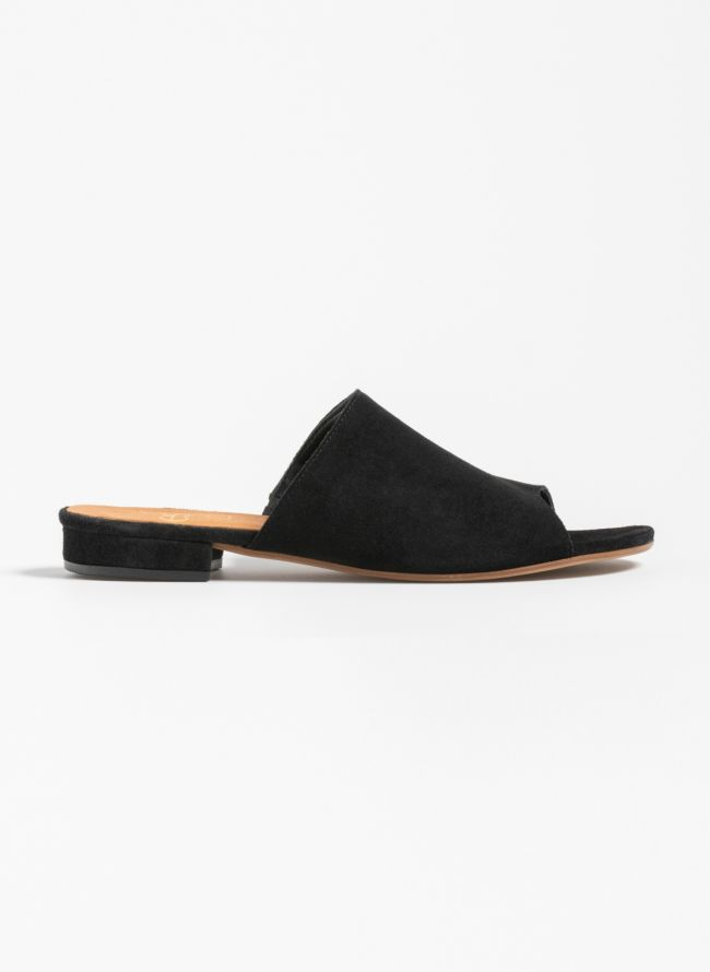 Estil καστόρινες παντόφλες με ντυμένο  τακούνι - Μαύρο