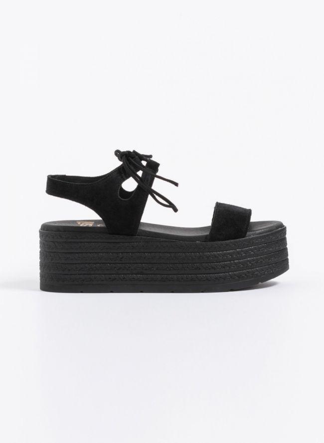 Estil lace-up  flatforms με διπλή σόλα - Μαύρο