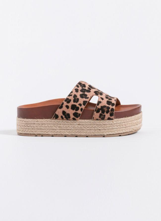 Estil ponyskin flatforms - Leopard