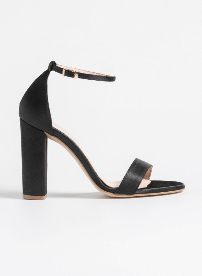 Estil σατέν block heels - Μαύρο
