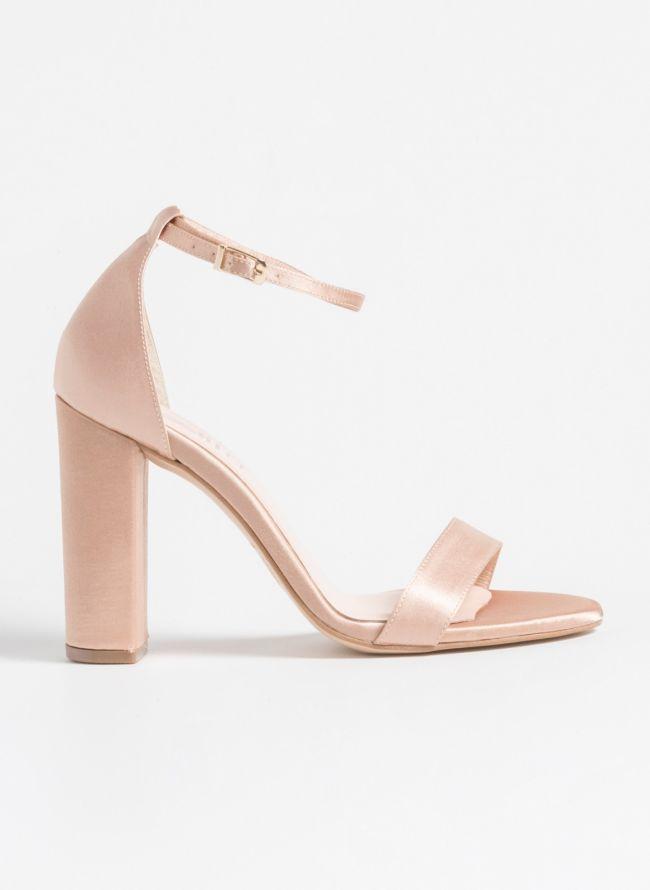 Estil σατέν block heels - Nude