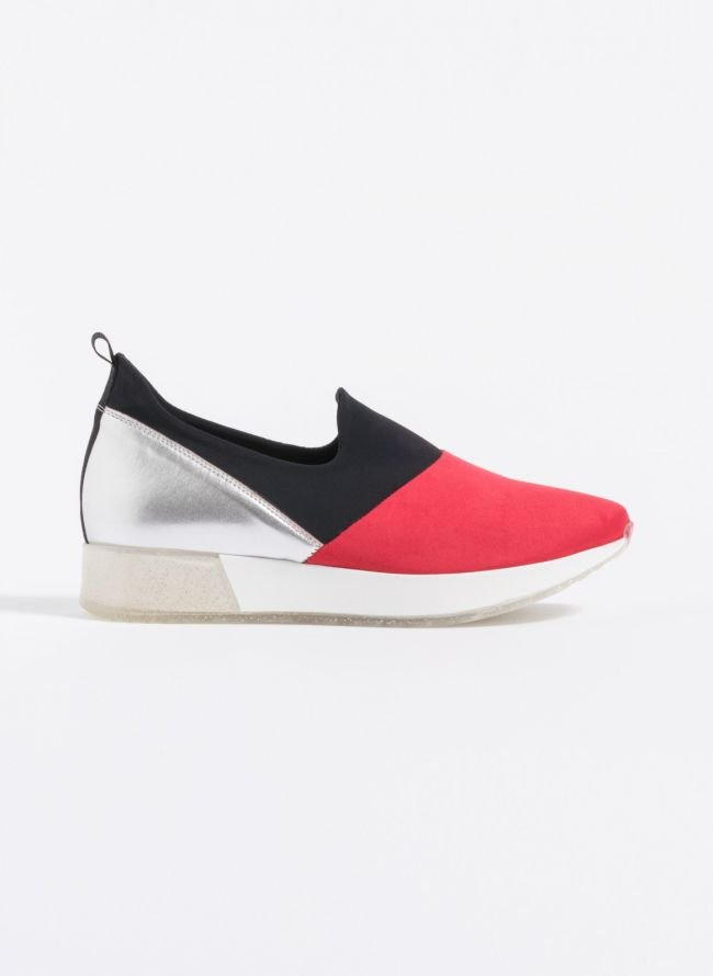 Estil suede slip-on sneakers  - Κόκκινο