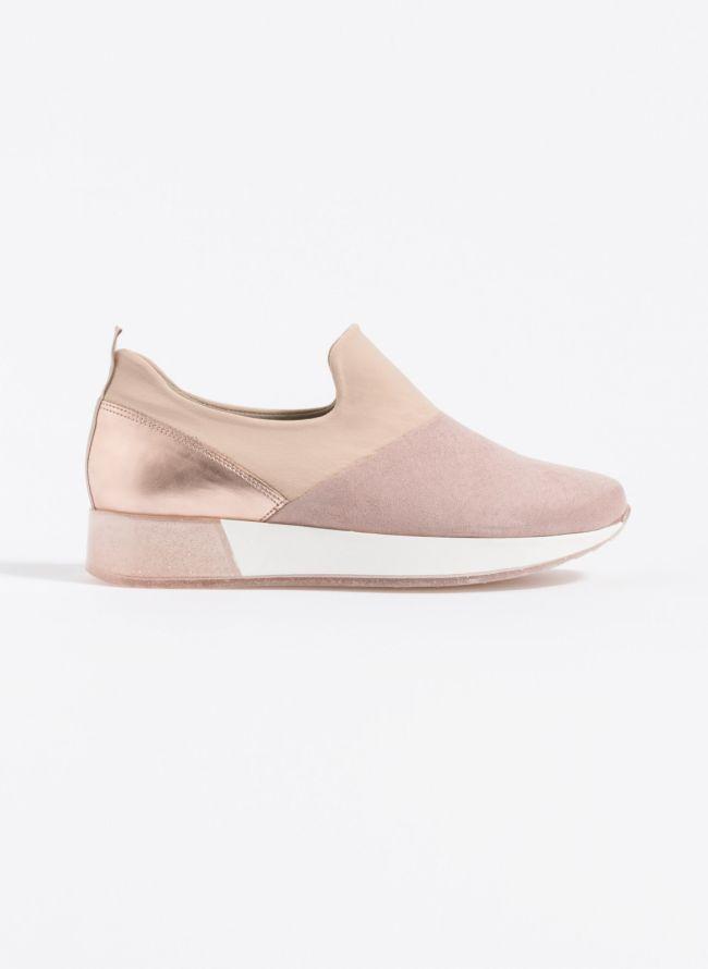 Estil slip-on sneakers με διαφάνεια και glitter στη σόλα - Nude