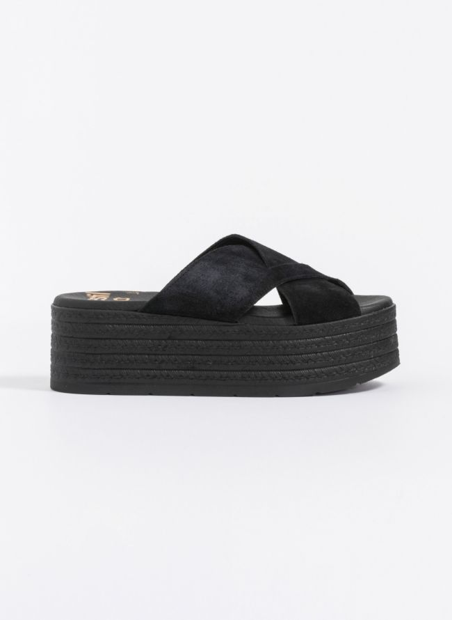 Estil suede flatforms  - Μαύρο
