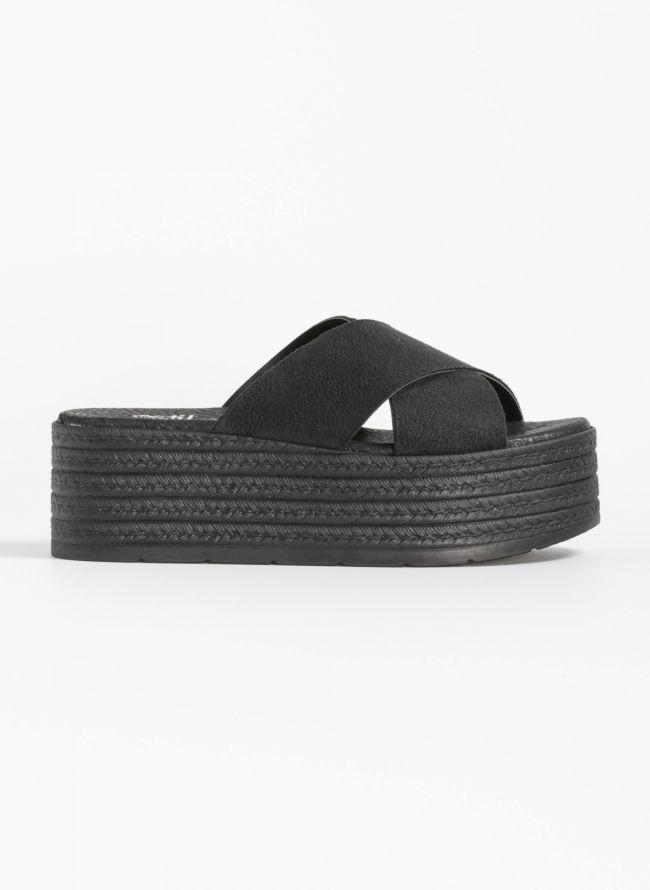 011340e5ef Estil suede flatforms με φάσες χιαστί - Μαύρο - TheFashionProject