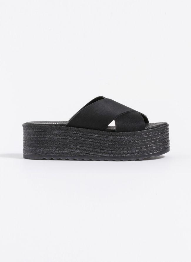 Estil suede flatforms πέδιλα με χιαστί φάσες - Μαύρο