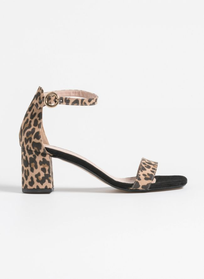 Estil suede πέδιλα με κλειστή φτέρνα - Leopard