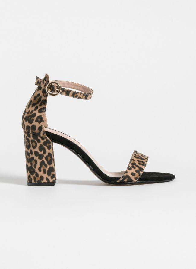 Estil suede πέδιλα με μπαρέτα - Leopard