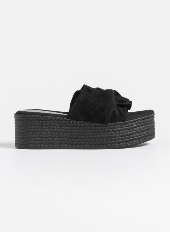 Estil suede slides με λοξό φιόγκο - Μαύρο