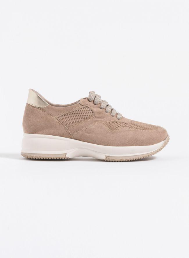 Estil suede sneakers με λεπτομέρεια δίχτυ - Biscuit