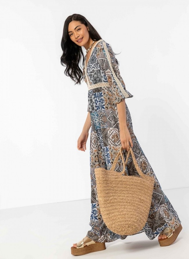 4d76639c1fff Ethnic maxi φόρεμα με πλεκτή λεπτομέρεια - Μπεζ