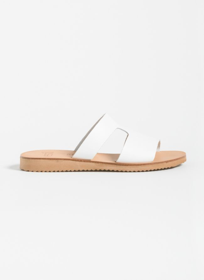 Estil Ανοιχτό δερμάτινο φλατ παπούτσι - Λευκό