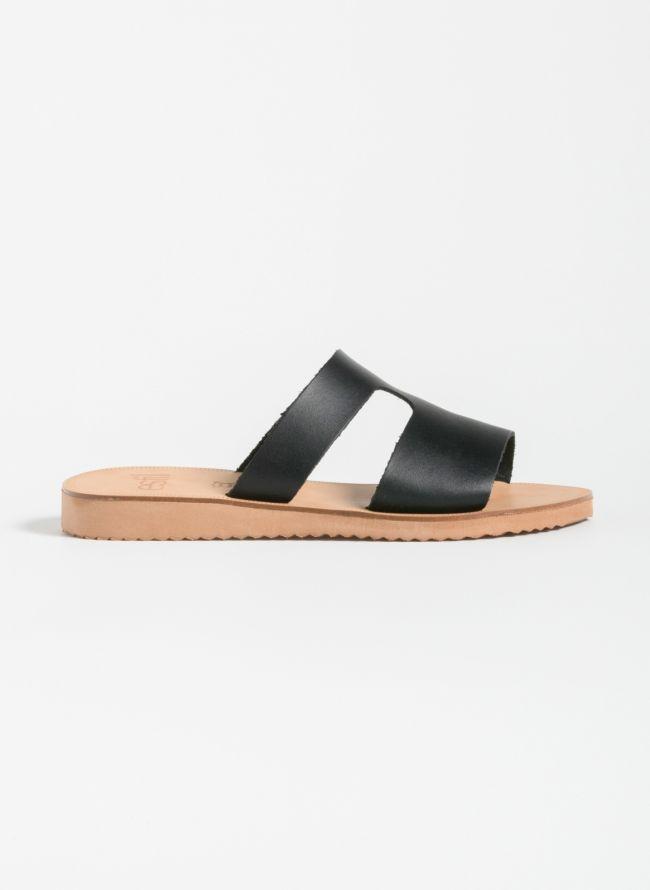 Estil Ανοιχτό δερμάτινο φλατ παπούτσι - Μαύρο