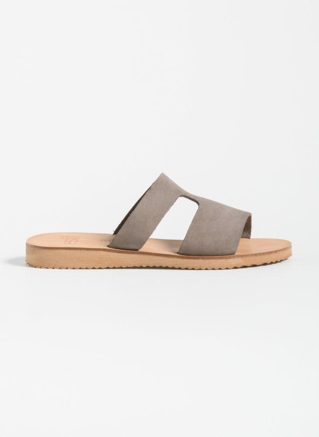 Estil Ανοιχτό δερμάτινο φλατ παπούτσι - Ανθρακί