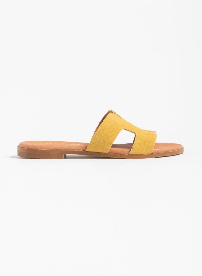 Flat καστόρινα σανδάλια με άνοιγμα στα πλαινά - Κίτρινο