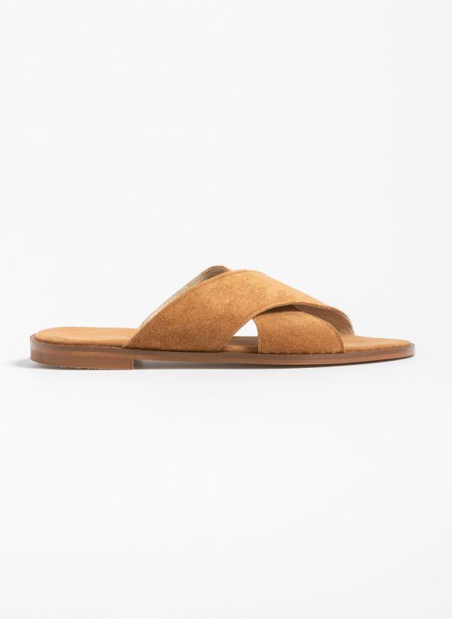 Flat καστόρινα σανδάλια με χιαστί φάσες - Ταμπά