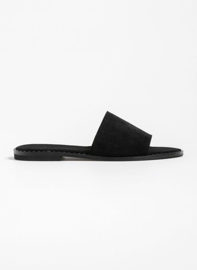 Flat καστόρινα slides  - Μαύρο