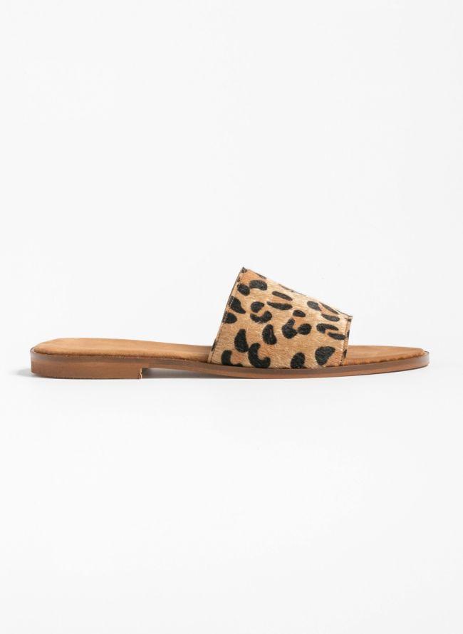 Flat ponyskin slides με leopard φάσα - Leopard