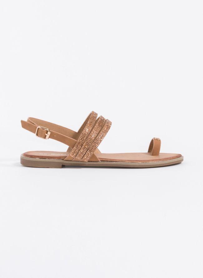 Flat σανδάλια με strass - Ταμπά