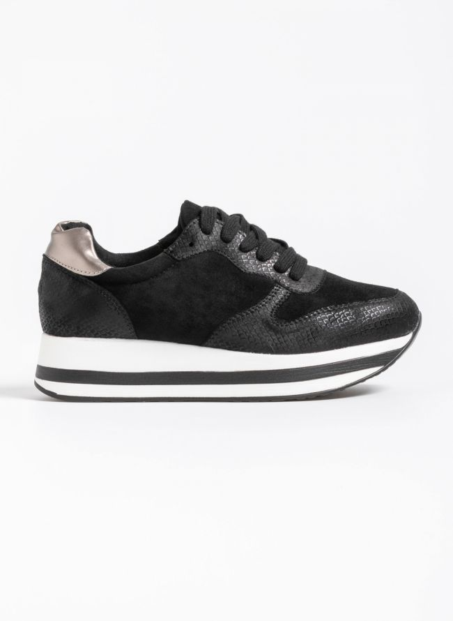 Flatform αθλητικά παπούτσια με snakeprint - Μαύρο