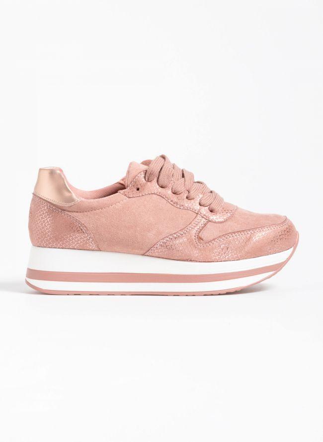 Flatform αθλητικά παπούτσια με snakeprint - Ροζ