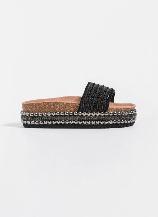 Xti flatform παντόφλες με στρας - Μαύρο