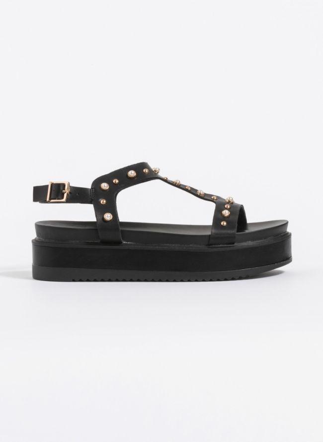 Flatforms με διακριτικές πέρλες - Μαύρο