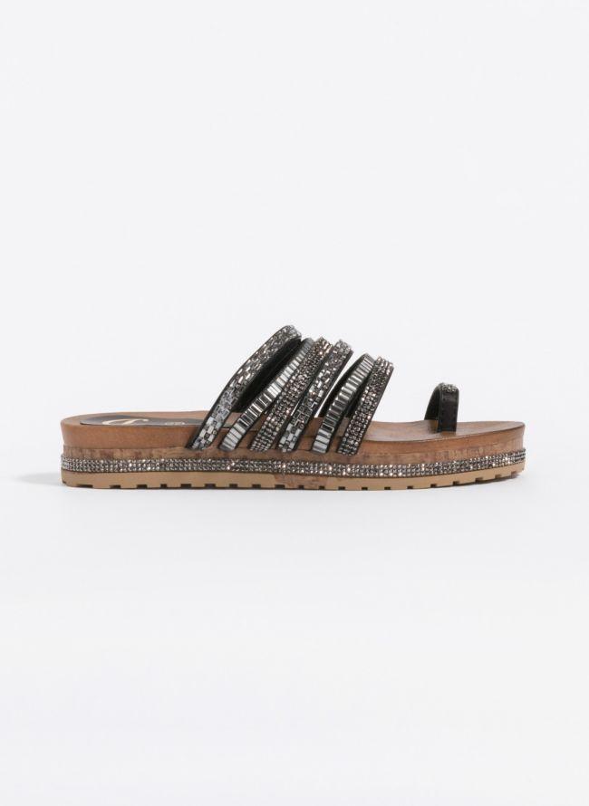 Flatforms με πέτρες και strass - Μαύρο