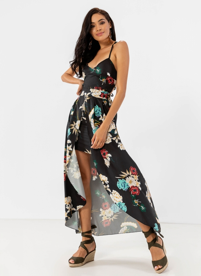 db5832c4800 Floral ασύμμετρο φόρεμα - Μαύρο