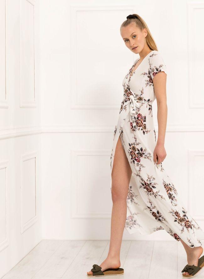 Floral κρουαζέ φόρεμα - Λευκό