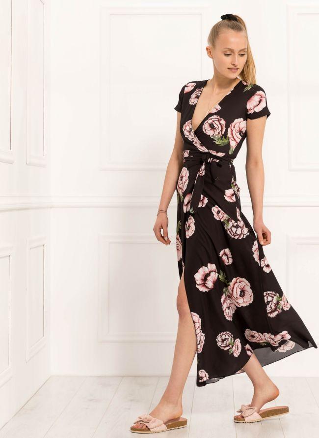 Floral κρουαζέ φόρεμα - Μαύρο