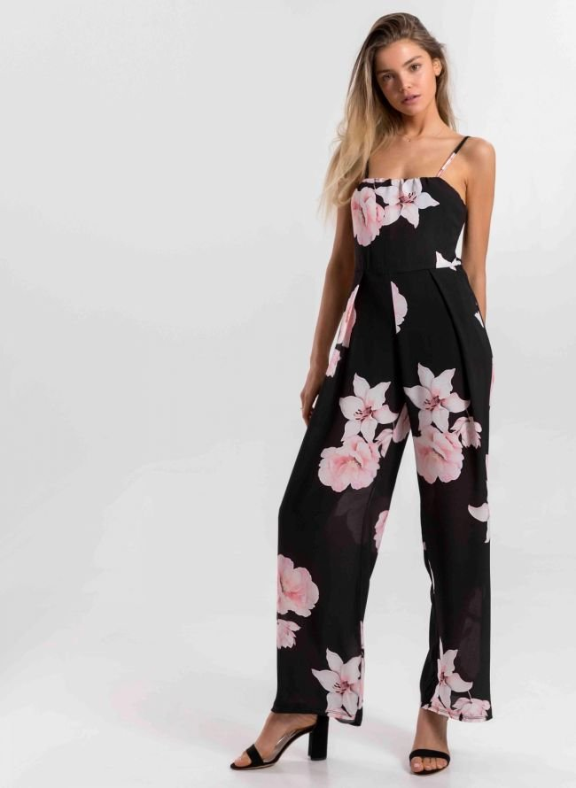 Φλοραλ ολόσωμη φόρμα με ανοιχτή πλάτη - Μαύρο