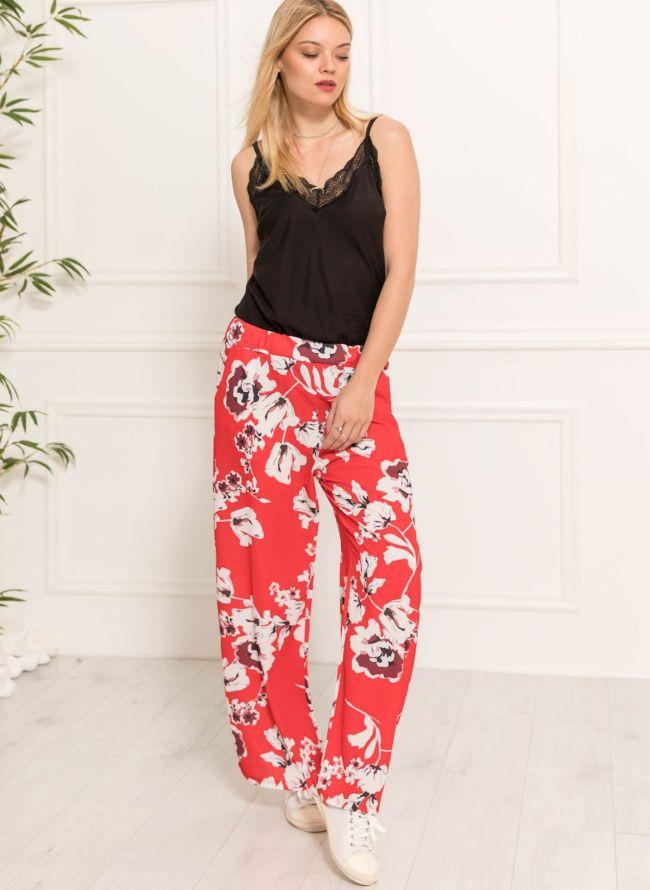Floral παντελόνα - Κόκκινο